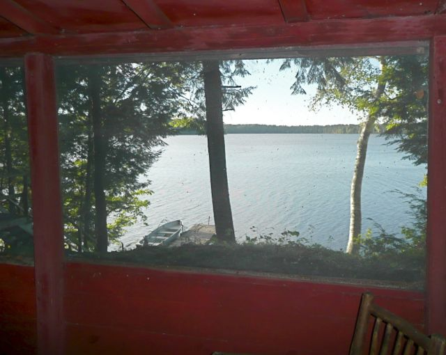 Hemlock view of Teal Lake from Screen porch