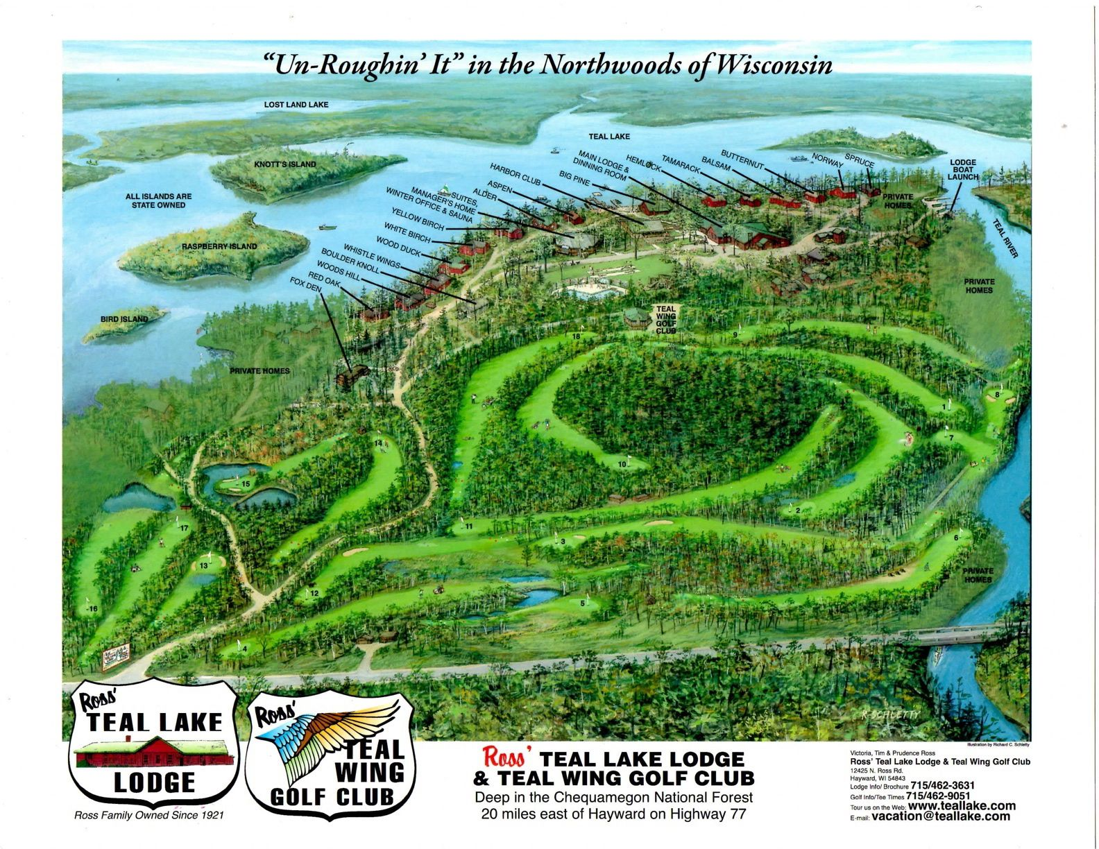 Ross' Teal Lake Resort aerial view