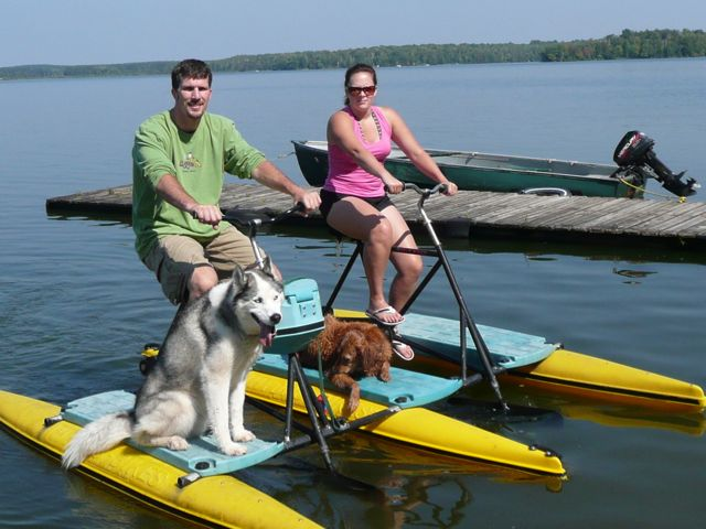 Hydro Biking on Teal Lake with the dogs